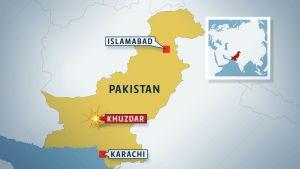 Karta: Khuzdar i södra Pakistan
