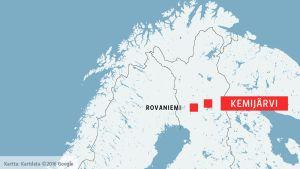 Kemijärvi på kartan