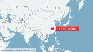 Karta som visar Fengcheng i Kina
