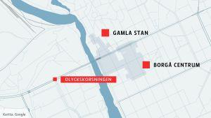 Karta över Borgå centrum