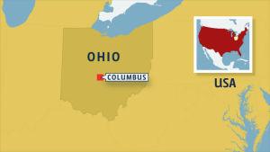 Karta som visar var Clumbus finns i Ohio, USA.