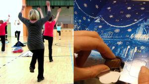 Bildmontage av två bilder. Till vänster en bild där flera kvinnor motionerar, till höger en bild där en hand tar ut en chokladbit från en chokladkalender.
