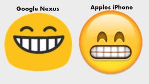 Illustration som påvisar skillnaden mellan olika emoijer.