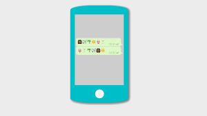 Grafik av telefon och meddelande med emoijer.