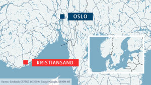 Karta som visar var i Norge Kristiansand ligger
