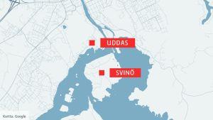 Karta över Uddas och Svinö