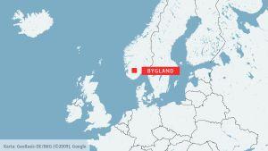 Karta över Norge och Bygland.