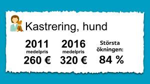 Priset på kastrering av hundar. 2011 var medelpriset 260 € och 2016 var det 320 €.