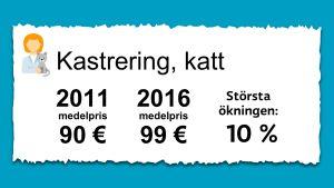 Priset på kastrering av katter. 2011 var medelpriset 90 € och 2016 var det 99 €.