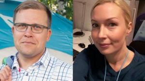 Bildcollage av journalisterna Jussi Eronen och Salla Vuorikoski