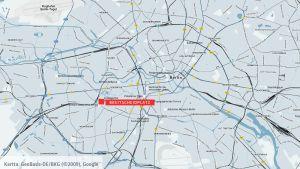 Karta över Berlin med Breitscheidplatz markerat