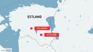 Karta som visar Viljandi och Otepää i Estland