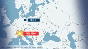 Karta över Berlin och Milano.