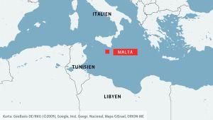 Karta över Medelhavet med Malta.