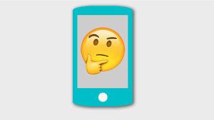 Emoji som ser fundersam ut.