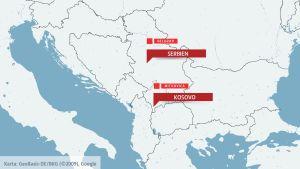 Karta över Serbien och Kosovo.