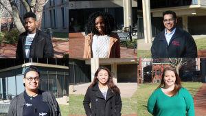 Övre raden fr.v. Jahkai Harrison, Naomi Gulama och Janio Perez, nedre raden fr.v. Antonio Escarraman, Anna Williams och  Jamie Frank på campuset på Rutgers University.