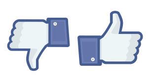 Facebooks tumme - en som pekar uipp och en som pekar ner.