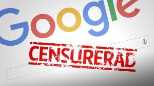 Google-logo med en censurerad-stämpel.