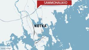 Karta som visar Sammonaukio i Kotka
