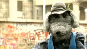 Ransu Karvakuono vierialee Berliinin muurilla.