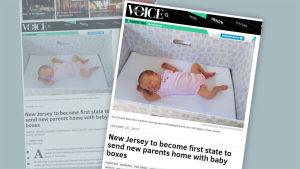 Nyhetssajten PhillyVoice rapporterade om att delstaten New Jersey börjat dela ut moderskapsförpackningar.