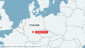 Karta över Tyskland och staden Arnstein.