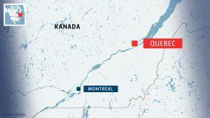 Karta över sydöstra Kanada, på bilden städerna Quebec och Montréal utmärkta.