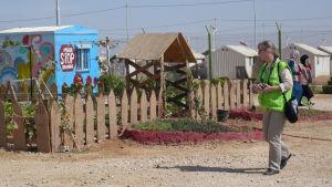 Yvonne Terlinden i Kyrkans Utlandshjälps verksamhetspunkt i Azraq