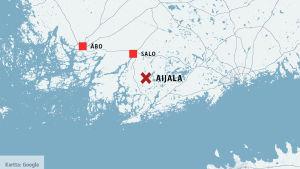 Karta som visar var Aijala är beläget
