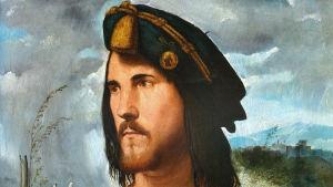 Detalj ur Altobello Melones porträtt av Cesare Borgia