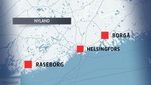 Karta över Nyland