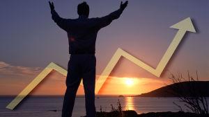 Soluppgång och en börskurva som pekar uppåt.