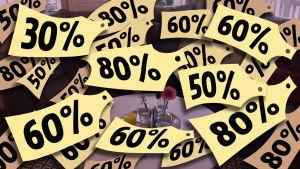 Grafik som visar olika grader av prissänkning i procent