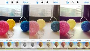 En bild med tre olika Instagram-filter på.