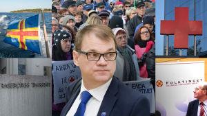 Bildcollage av Juha Sipilä och aktuella språkfrågor i Svenskfinland