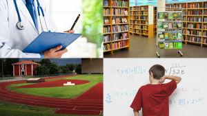Bildcollage som symboliserar välfärdssamhället, med skola, vård idrottsplan och bibliotek.