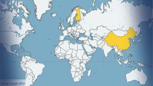 Världskarta med Finland och Kina inritade.