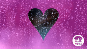 Vesipisarakuvan päällä vaaleanpunaisella pohjalla sydän.