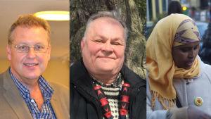 Harri Lindell (Terve Helsinki), Jarmo Nieminen (Gröna) och Zahra Abdulla (VF).