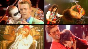 Kollaasi Freddie Mercuryn muistokonsertista: Annie Lennox & David Bowie, Brian May & Slash, George Michael & Liza Minnelli, Axl Rose