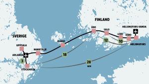 Potentiell hyperloop-bana mellan Finland och Sverige.