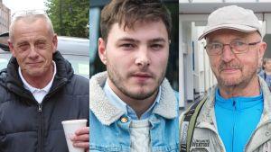 En kollagebild på tre män från Storbritannien, Frankrike och Tyskland.