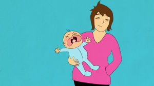 Piirretty kuva. Väsynyt äiti pitää huutavaa lasta sylissään.