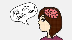 Piirretty kuva. Nainen missä aivot piirretty päähän. Puhekupla mikä sanoo: 'Mä niin tiiän tän!'