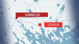 Karta över Lovisa centrum och Gammelby