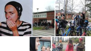 fyra bilder från demonstration i Mörskom, en av demonstranterna håller upp en bild på ungdomsarbetare Markku Vilonen
