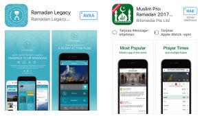 kuva kahdesta sovelluksesta, joiden avulla voi viettää paastoa ramadanin aikaan