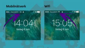 De olika symbolerna för mobilnätverket och wifi.