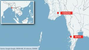 Karta som visar Burma, och städerna Yangon och Myiek.